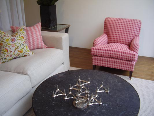 George Smith Armchair covered in Ovals Flamingo