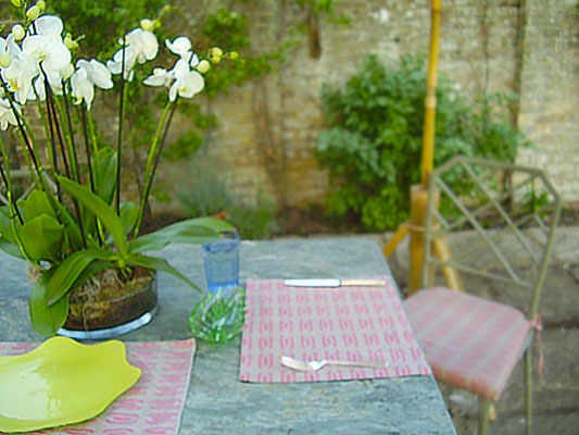 Ingot Iced Raspberry as cushions and table mats